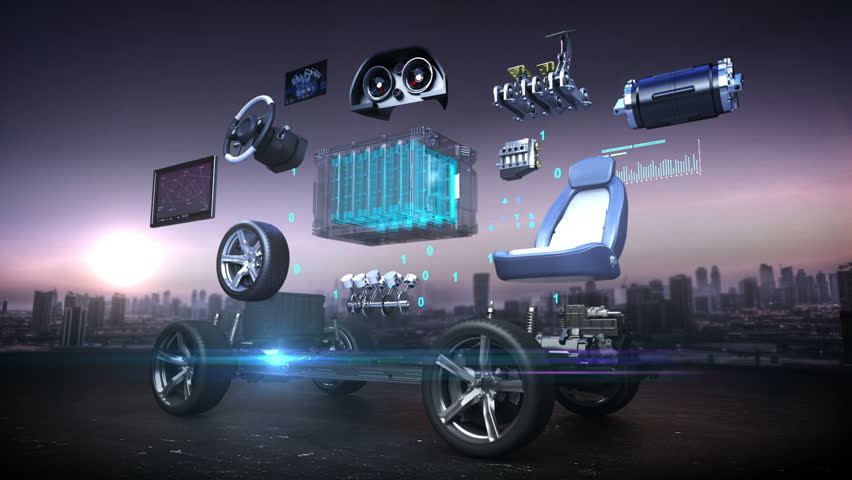 Disassembled car, Electronic, hydrogen, lithium ion battery echo car. Charging car battery. eco-friendly future car. engine, safety seat, Instrument panel, navigation, Accelerator pedal,  | Shutterstock HD Video #21767356