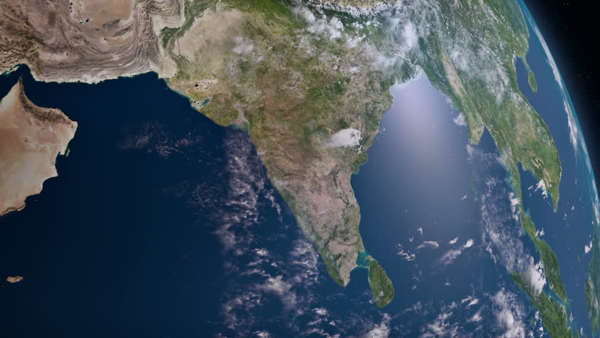 Earth view from space. South Asia.