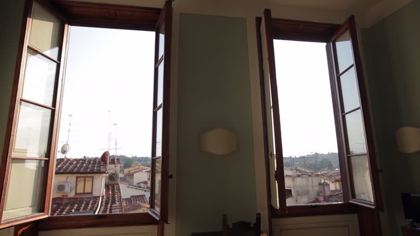 WS DS Hotel Room Interior with Sun Shining Through Window / Florence, Italy | Shutterstock HD Video #21829006