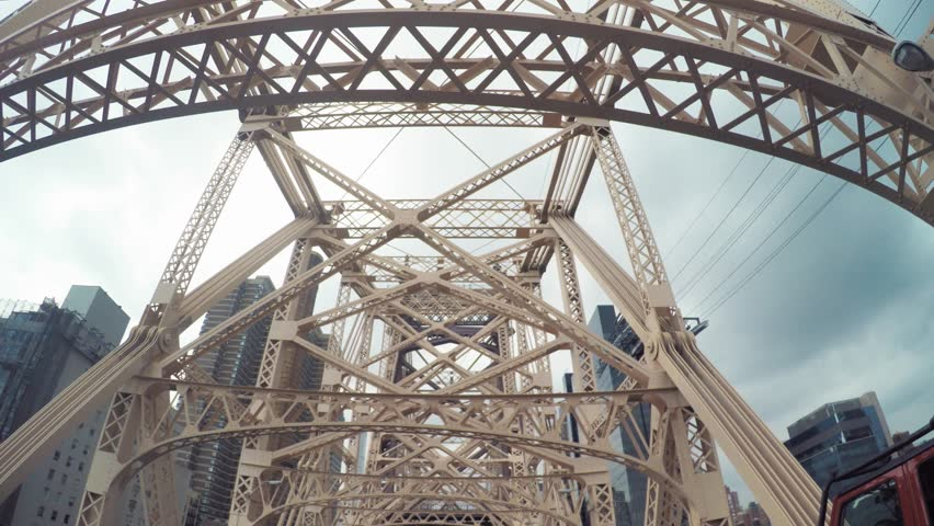 Point of view drive over the Queensboro Bridge from Queens to Manhattan, NY | Shutterstock HD Video #21843181