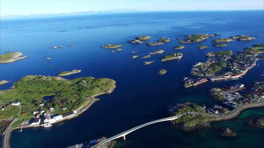 Scenic aerial view of fishing town of Henningsvaer on Lofoten islands, Norway, popular tourist destination. | Shutterstock HD Video #21872323