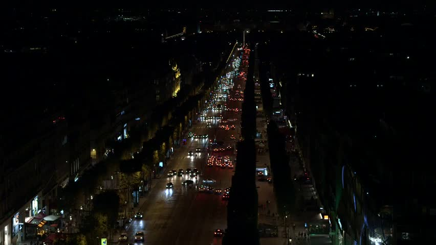 Champs-Elysees Paris, high view night traffic towards Concorde | Shutterstock HD Video #21917125