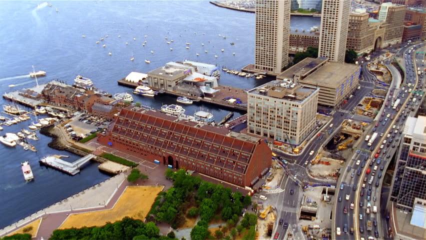 Boston, MA - CIRCA 2003 - Daytime aerial view of Boston waterfront