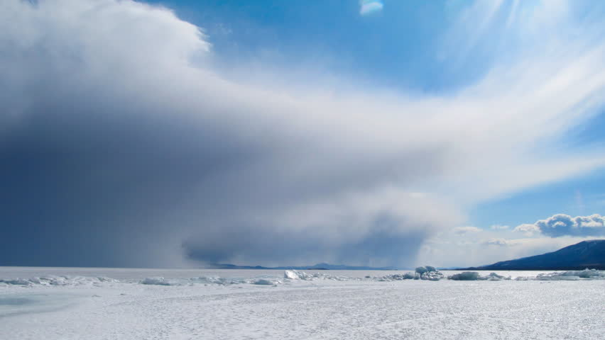 Winter Baikal landscape. Ice and clouds #2195542