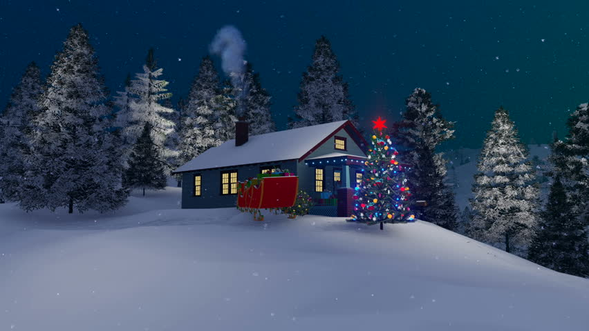 Cartoon animation snow winter snowmen on the streets for Outside christmas scenes