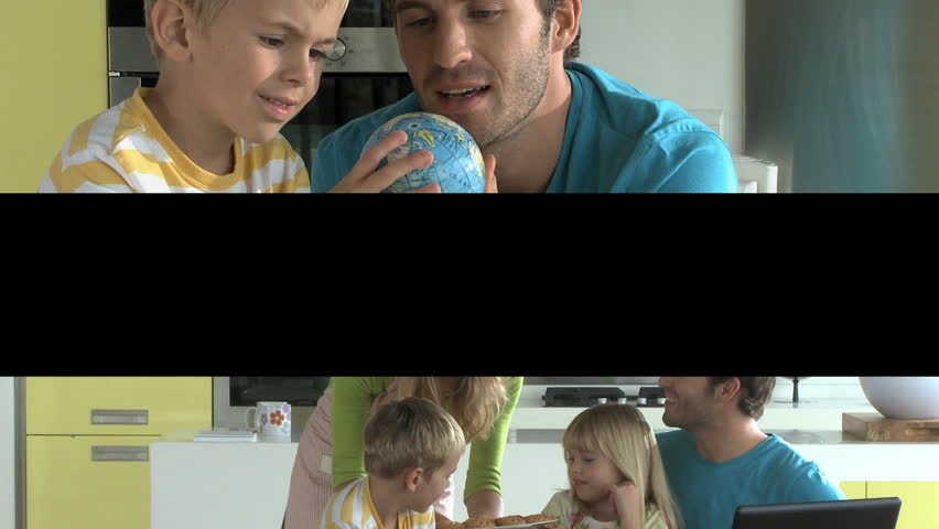 Split screen of Family at home - HD stock footage clip