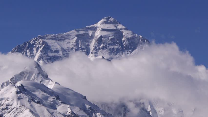 Timelapse of Mount Everest peak, Himalayas, Tibet. - HD stock video clip