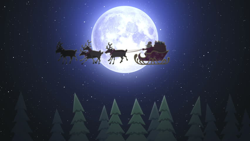 Santa Riding His Sleigh On The Moon Background In The Night | Shutterstock HD Video #22023955
