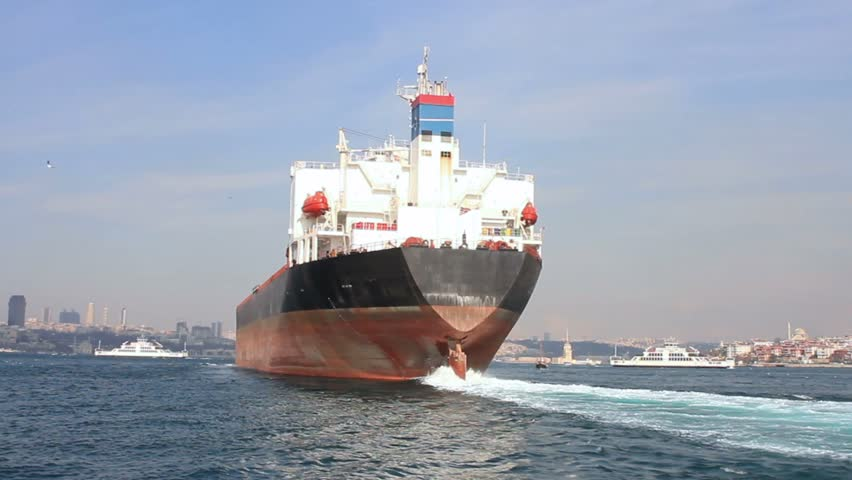 Oil tanker ship on route to Black Sea. Back view of the large tanker ship  - HD stock footage clip