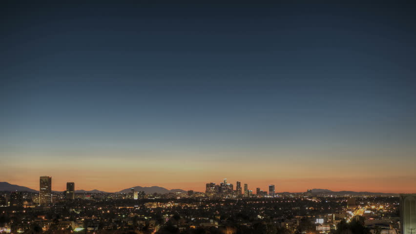 Sunrise Timelapse of Downtown Los Angeles skyline
