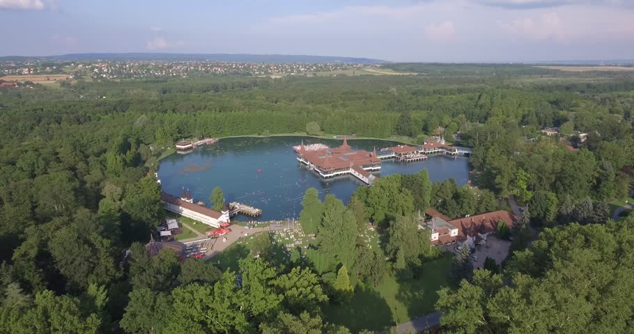 Aerial video shows the Heviz Thermal Lake in Hungary  | Shutterstock HD Video #22166578