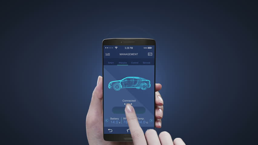 Touching future car management application on mobile screen, Electronic car checked battery, car information. #22261960