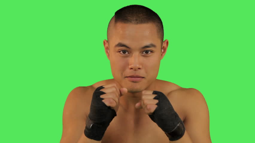 Close up of Thai boxer fighting  - HD stock footage clip
