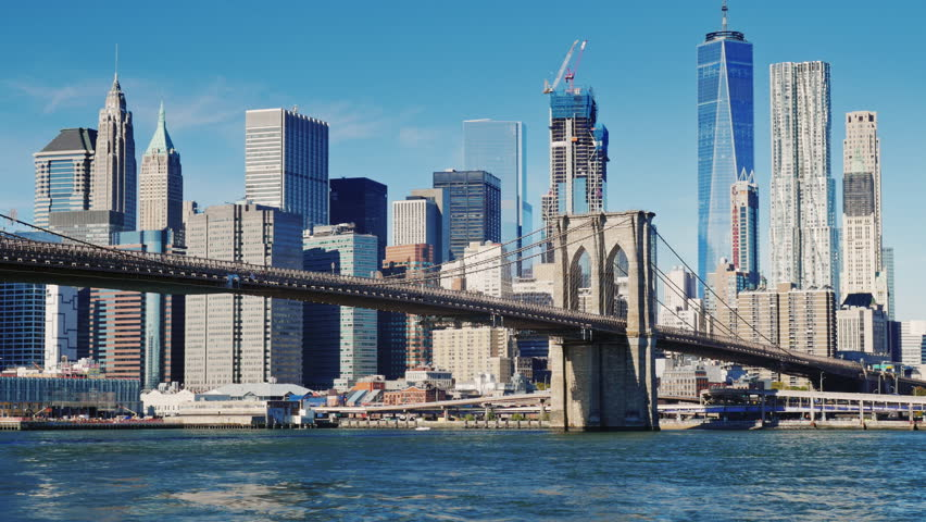Cityscape of Manhattan and Brooklyn Bridge. Clear autumn day | Shutterstock HD Video #22332916