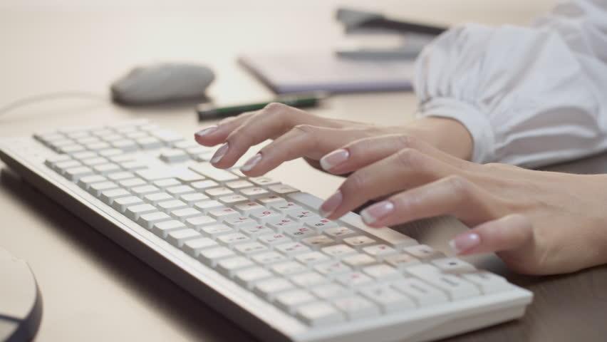 Female hands typing on russian keyboard | Shutterstock HD Video #22460329
