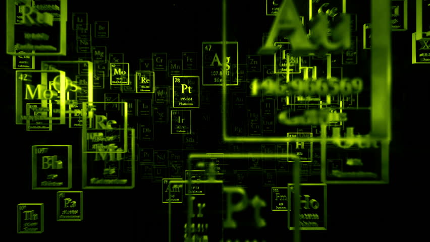 Loopable camera passing through flying metal chemical elements. Periodical table of elements. Mendeleev`s table fragment | Shutterstock HD Video #22480804