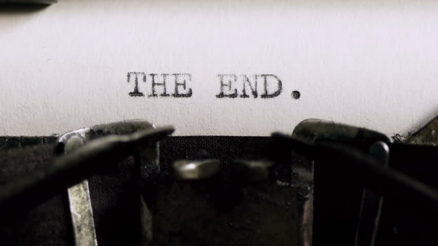 Typing The End (HD). THE END being typed and centered on Vintage 1940s typewriter. Ambient audio Included.