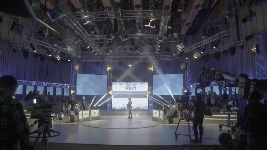 KYIV, UKRAINE  MAY 9, 2016. Record TV show in the big Studio - 4K stock footage clip