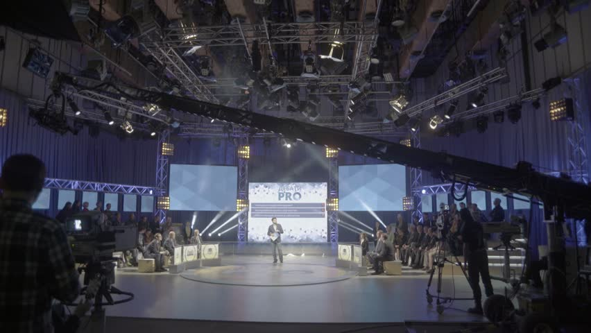 KYIV, UKRAINE  MAY 9, 2016. Record TV broadcast in the big Studio - 4K stock footage clip