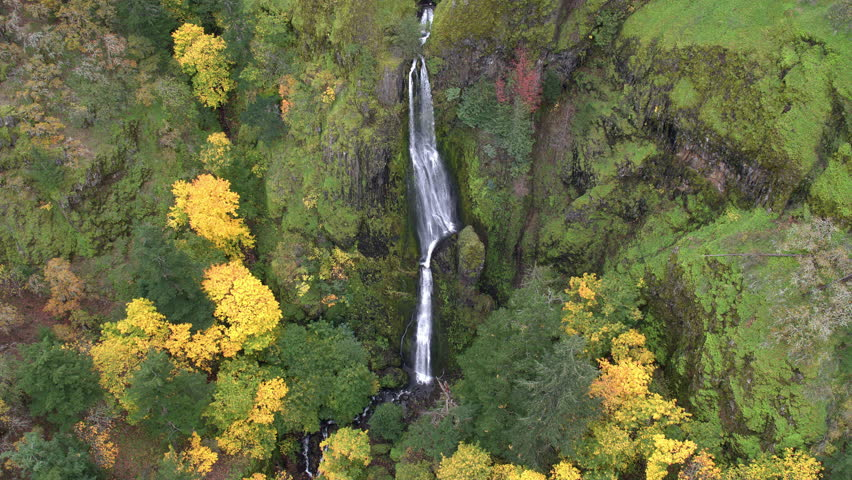 Aerial view of trees and waterfall flying backwards during fall. | Shutterstock HD Video #22831345