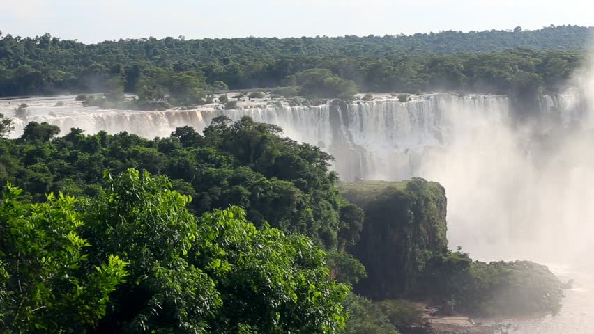 View of worldwide known Iguassu falls at the border of Brazil and Argentina  | Shutterstock HD Video #22852846
