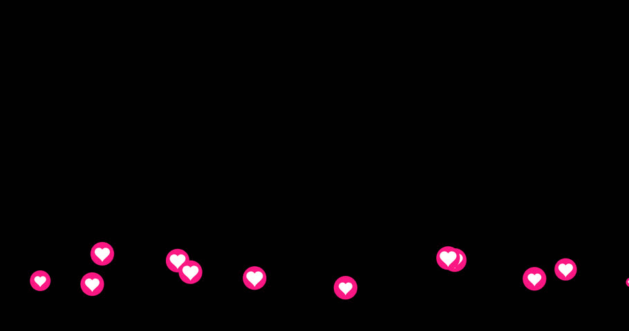 A group of generic Facebook-style love emotion icons travel across the bottom of the screen. With alpha channel. Alpha channel may only be available in original 4K version.