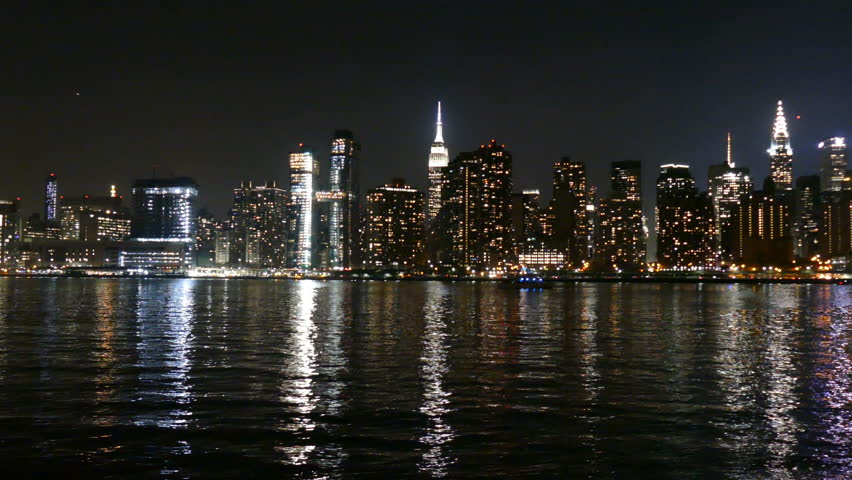 Manhattan Skyline and East River at Night, view from Long Island City, New York #22937689