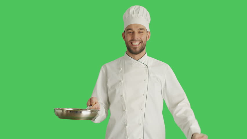 Mid Shot of a Chef Tossing Up Macaroni on Pan and Making Bellissimo Gesture. Background Green Screen. Shot on RED Cinema Camera 4K (UHD). | Shutterstock HD Video #22949353