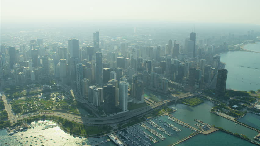 Aerial skyline view of Chicago Illinois Lakeshore Drive Millennium Park Navy Pier city Skyscraper buildings Downtown and marina America RED DRAGON | Shutterstock HD Video #22988359