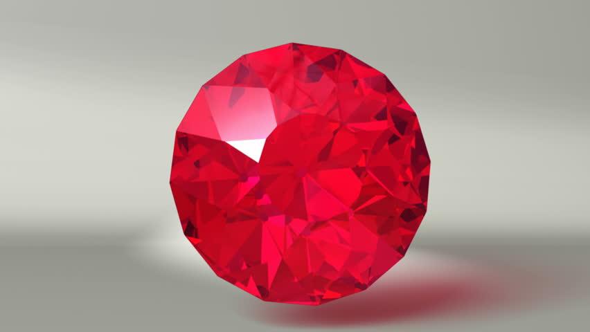 Red Ruby Gemstone Infinite Rotation In Hdtv Stock