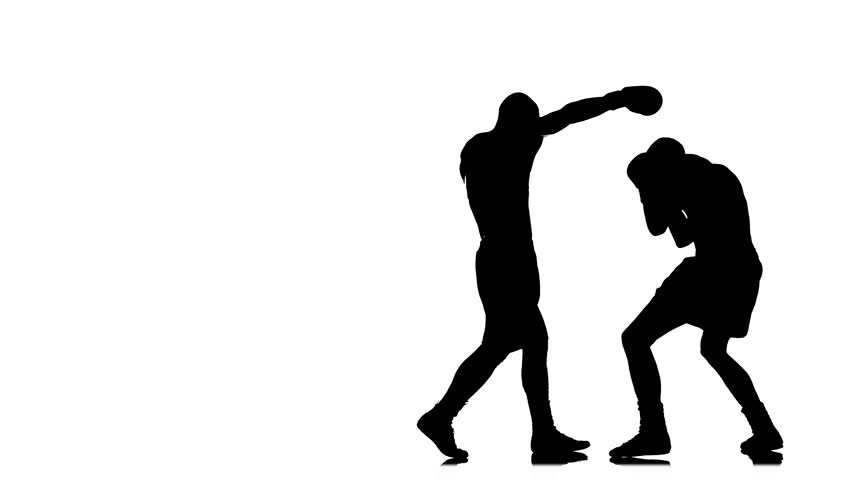 Silhouette of sportsmen training. Two boxer sparring | Shutterstock HD Video #23052430