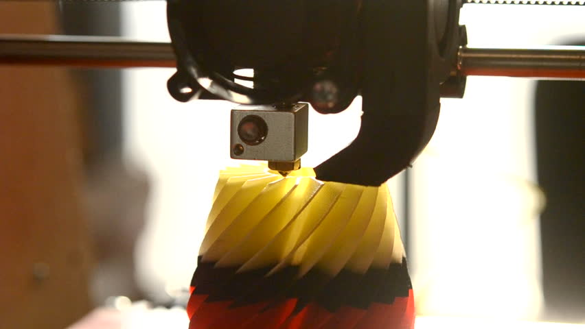 Printing on modern 3D printer from hot plastic isolated object close-up. Printing with Plastic Wire Filament. Modern 3d printing technology. Industrial technological background. Real time | Shutterstock HD Video #23082922