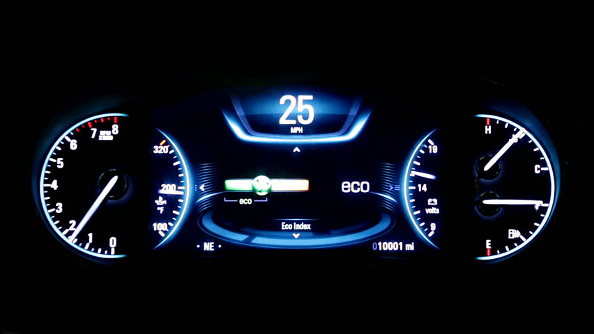 Modern light car mileage (dashboard, milage) isolated on a black background. New display of a modern car. RPM, Fuel indicator and temperature. Sport. mph. | Shutterstock HD Video #23122891