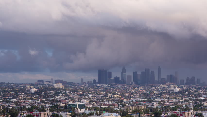 Downtown Los Angeles Rain Storm Dark Clouds Day To Night Sunset Timelapse | Shutterstock HD Video #23148829