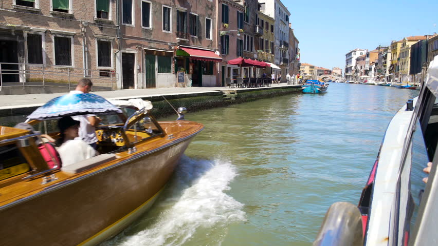 Tourists travelling by water taxi along Venice canal, transportation services | Shutterstock HD Video #23157820