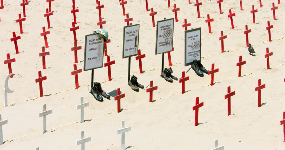 Crosses at the symbolic memorial military cemetery of fallen soldiers of Iraq war in Santa Monica Beach, Los Angeles, California, 4K, RAW | Shutterstock HD Video #23172526