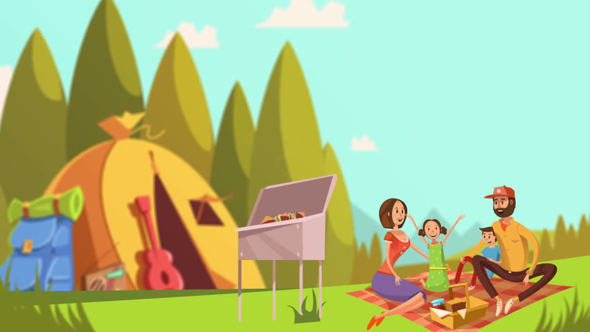 Cartoon family picnic video animation footage | Shutterstock HD Video #23174830