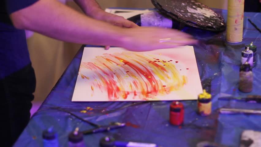 Spray art. drying pattern with fire | Shutterstock HD Video #23179492