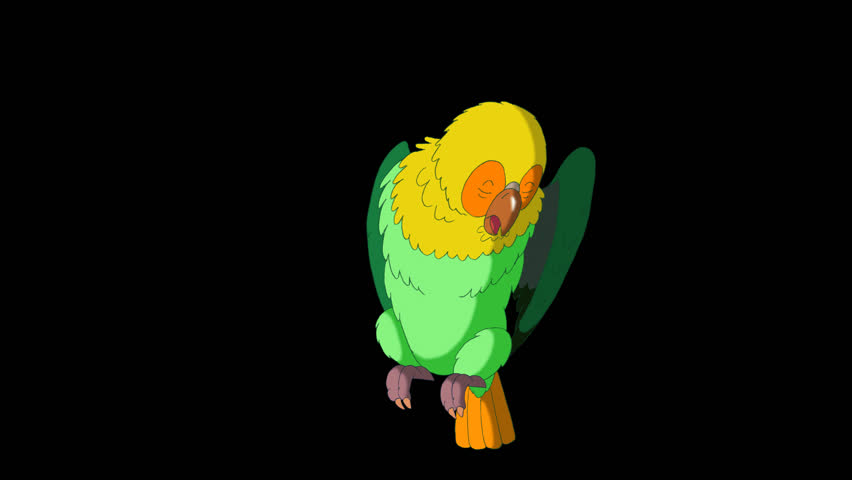 Green Parrot Cleans Feathers. Animated footage with alpha channel. Looped motion graphic. | Shutterstock HD Video #23184847