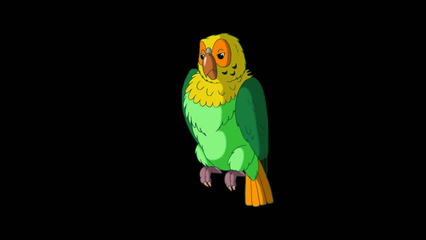 Green Parrot Talks. Animated footage with alpha channel. Looped motion graphic. | Shutterstock HD Video #23184865