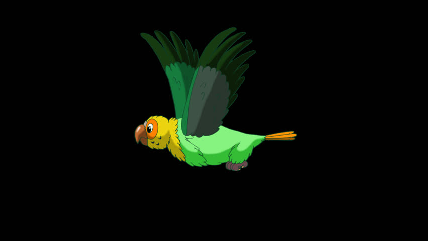 Green Parrot Flies. Animated footage with alpha channel. Looped motion graphic. | Shutterstock HD Video #23184883