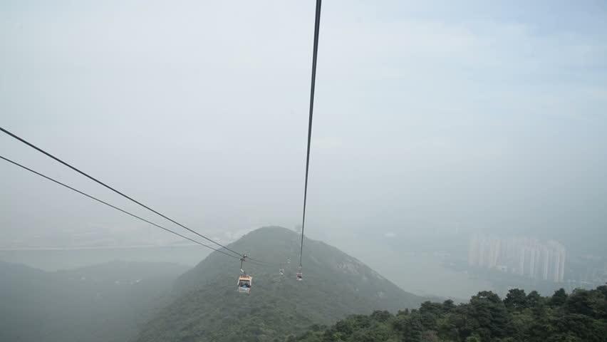 Ngong Ping 360 cable car on Lantau Island, Hong Kong. Cable car to mountain.   Shutterstock HD Video #23204107