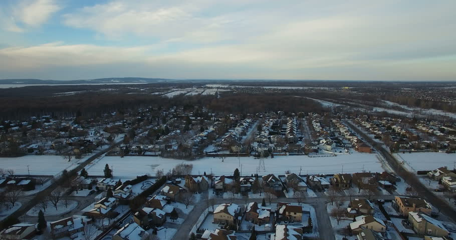 Aerial Winter Snow Landscape Above Montreal, Canada    Shutterstock HD Video #23205394