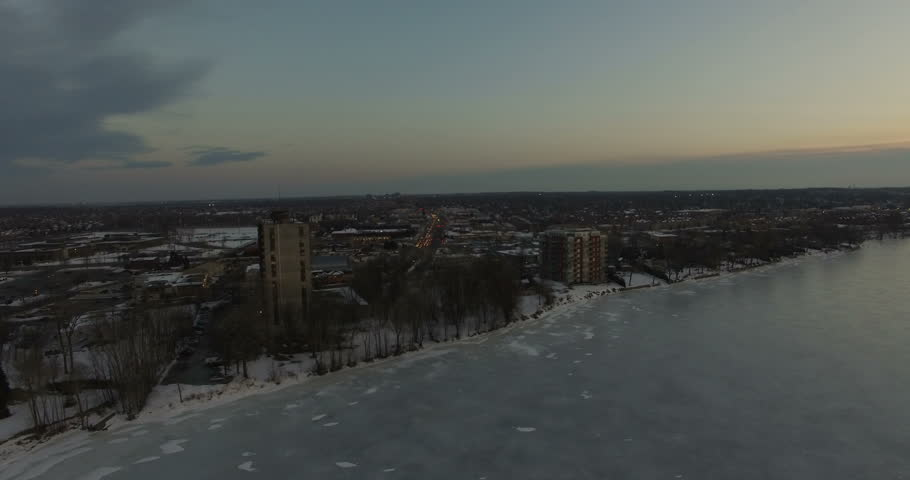 Aerial winter landscape by the shore in Montreal, Canada    Shutterstock HD Video #23206204