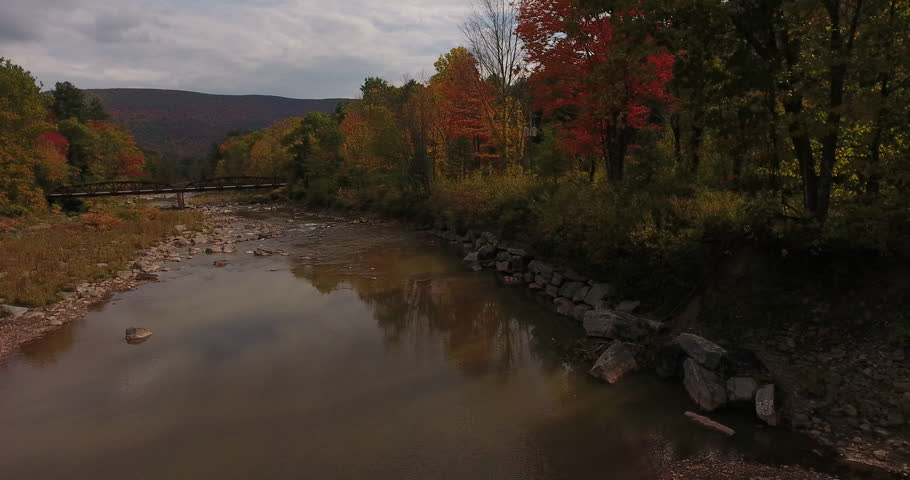Aerial shot of the fall foliage along Esopus Creek, in upstate New York.   Shutterstock HD Video #23207032