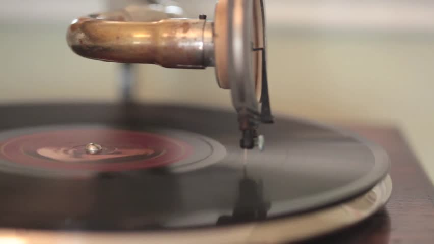 A close up shot of an old fashioned vinyl record player portable gramophone   Shutterstock HD Video #23208985