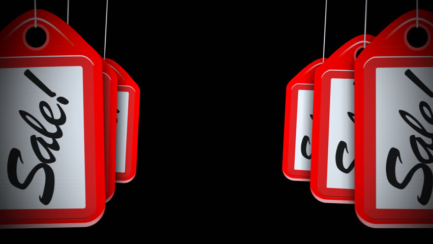 A motion background plate of swinging sale red tags. With alpha channel.    Shutterstock HD Video #23213476