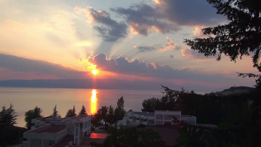 Sunset on Lake Ohrid, Ohrid, on Jule 3, 2015 | Shutterstock HD Video #23284594