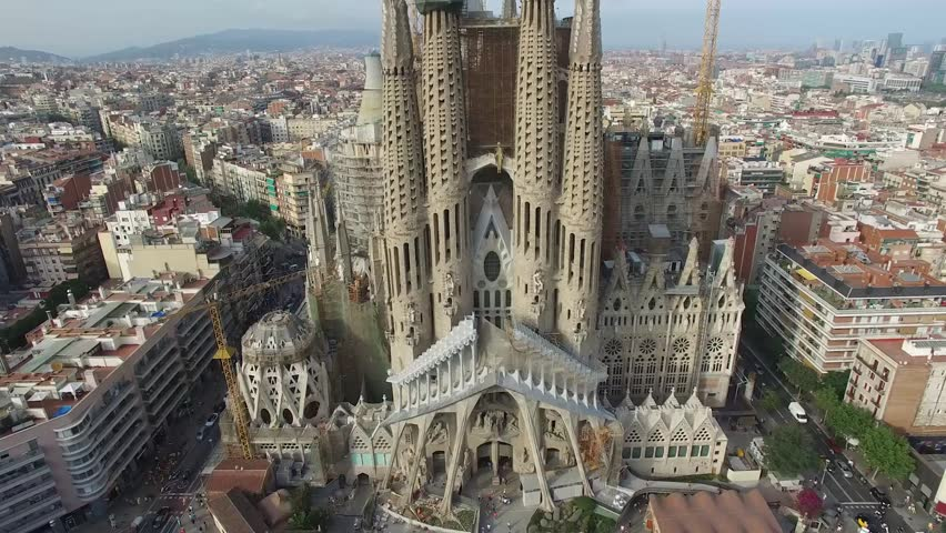 Basilica and Expiatory Church of the Holy Family, Barcelona - SpainThis is an aerial video of Basilica and Expiatory Church of the Holy Family shot by drone in Barcelona, Spain.