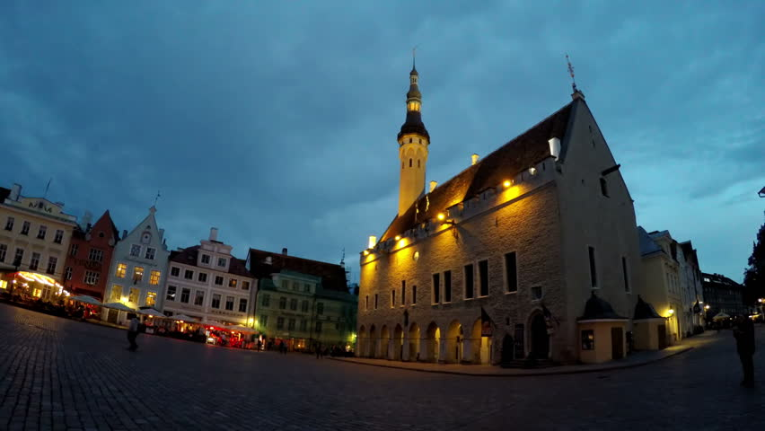 TALLINN, ESTONIA- SEPTEMBER 5, 2015 A crowd of tourists visit Town hall square in the Old city on September 5, 2015 in Tallinn, Estonia | Shutterstock HD Video #23525119
